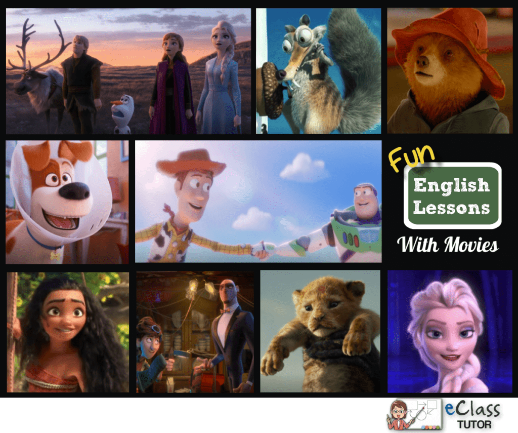 Animation Fun English Lessons with movie (video trailers)